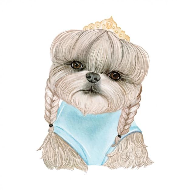 Adorable perro lindo con pelo en trenzas y coronas ilustración acuarela Vector Premium