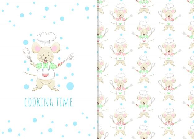 Adorable ratoncito personaje de dibujos animados, ilustración y patrones sin fisuras Vector Premium