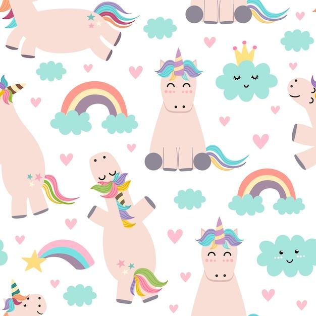 Adorable unicornio, arco iris y nubes de patrones sin fisuras Vector Premium