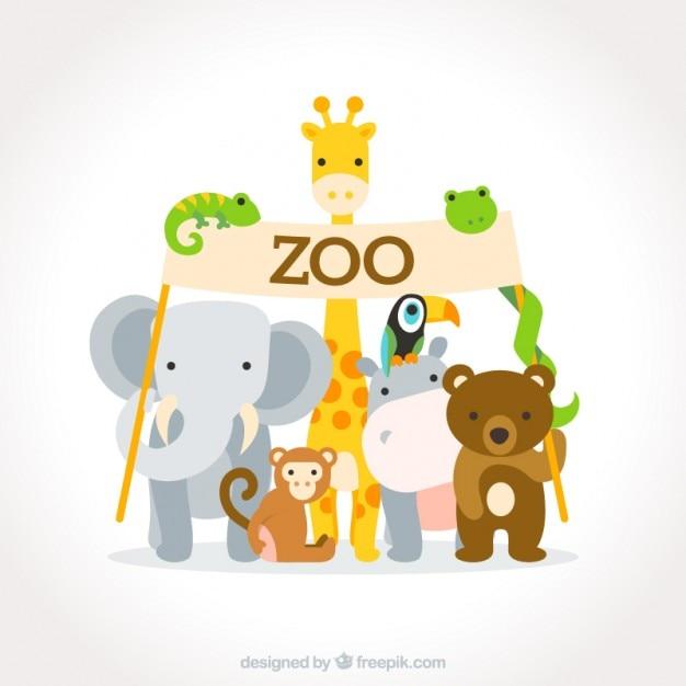 Adorables animales salvajes planos con un cartel de zoo vector gratuito