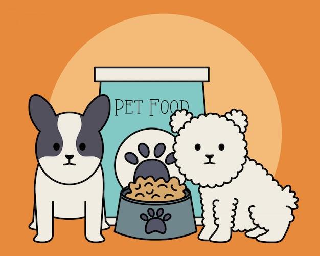 Adorables perritos con bolsa de comida y plato. vector gratuito