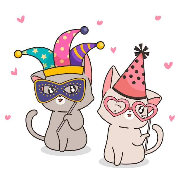 Adorables personajes de gatos elegantes Vector Premium