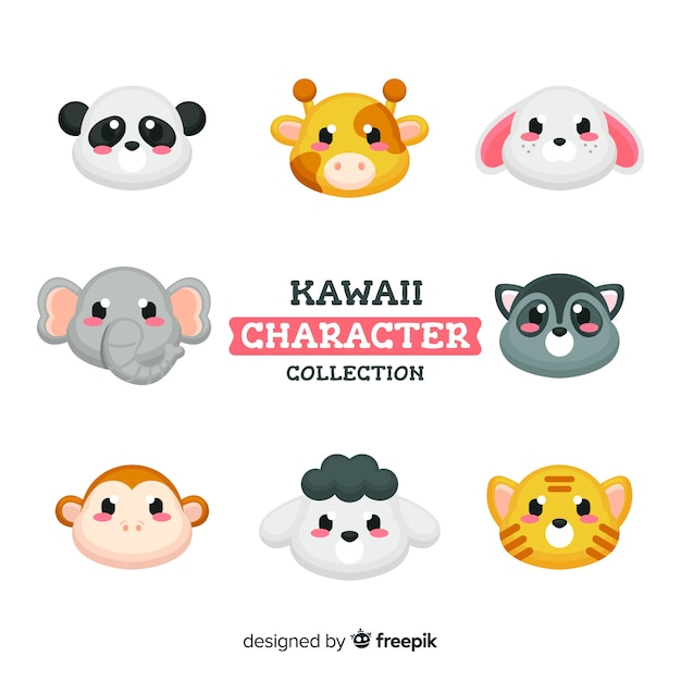 Adorables personajes kawaii vector gratuito