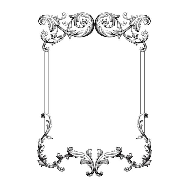 Adorno barroco clásico. elemento decorativo de diseño en filigrana. Vector Premium