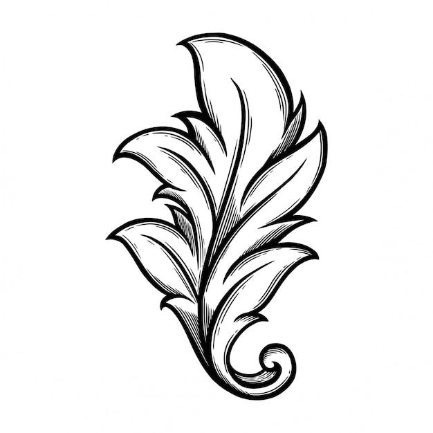 Adorno floral barroco para marco de esquina y esquina. Vector Premium