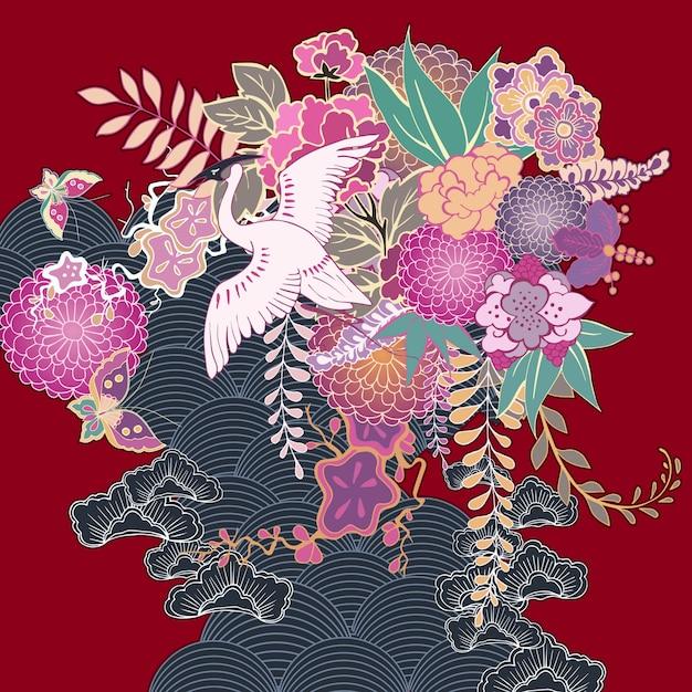 Adorno floral kimono vintage vector gratuito