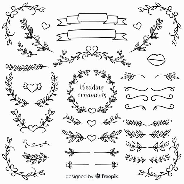 Adornos florales de boda dibujados a mano vector gratuito