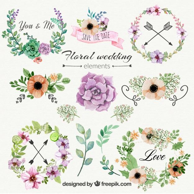 Adornos florales de boda vector gratuito