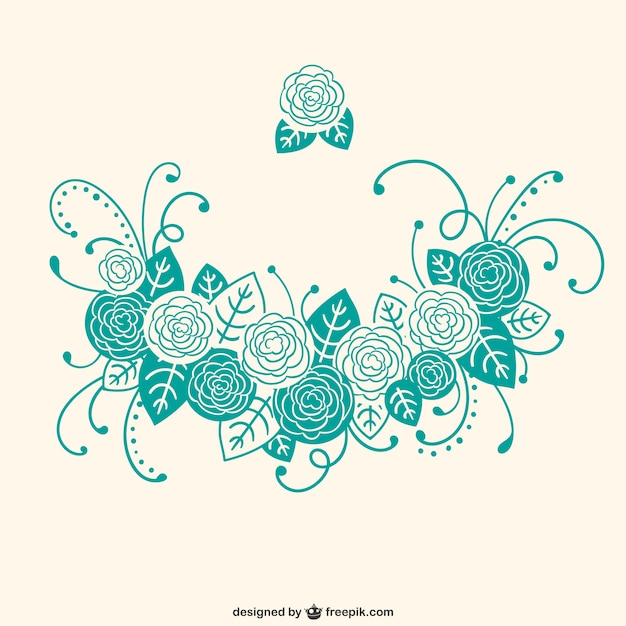 Adornos florales caligr ficos de color turquesa - Como se hace el color turquesa ...