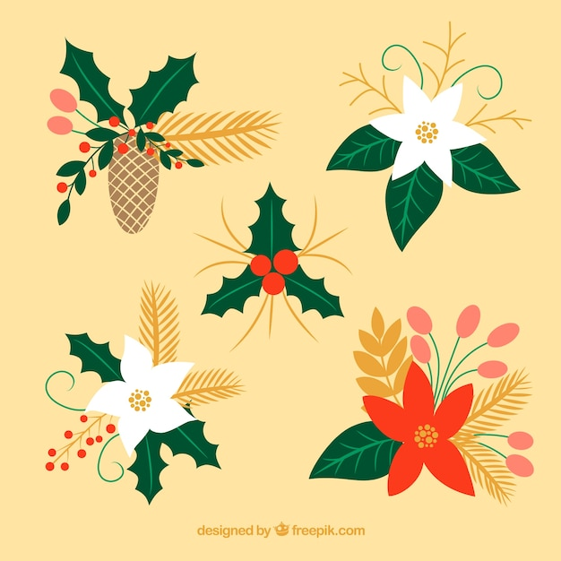 Adornos florales con flores decorativas Descargar Vectores gratis