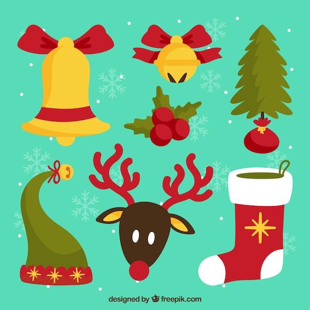 Adornos de navidad adorables vector gratuito