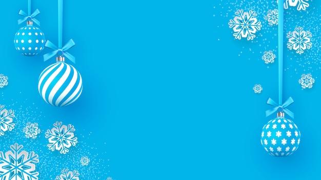 Adornos navideños suavemente azules con patrones geométricos y copos de nieve Vector Premium