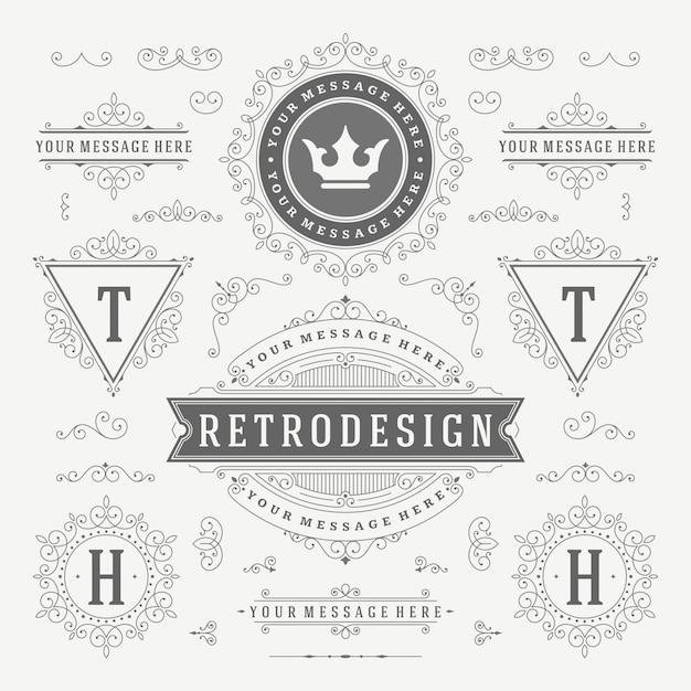Adornos vintage remolinos y pergaminos decoraciones florece adornado Vector Premium