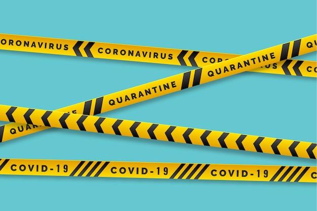 Advertencia covid-19 con rayas amarillas y negras vector gratuito