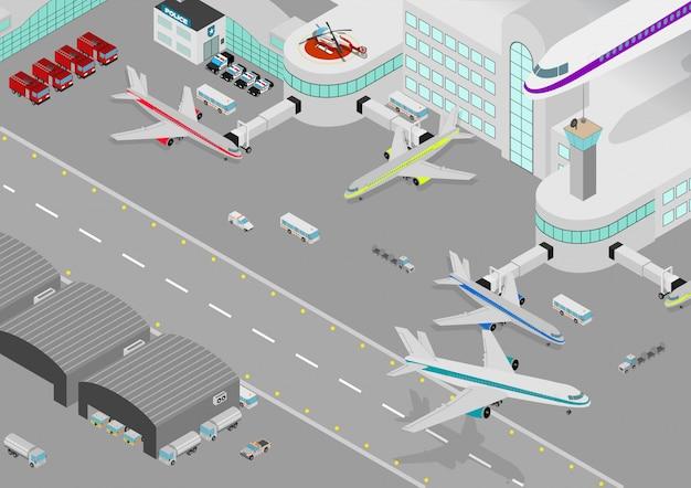 Aeropuerto isométrico Vector Premium