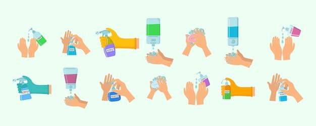 El aerosol antiséptico en el matraz mata las bacterias. jabón, gel antiséptico y otros productos higiénicos del coronavirus. conjunto de iconos de higiene. concepto antibacteriano. alcohol líquido, botella de spray bomba. vector. Vector Premium