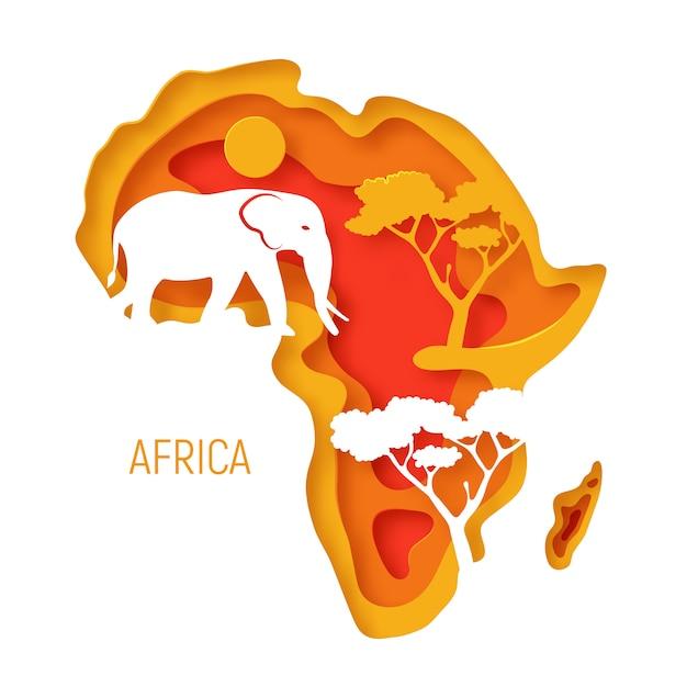 África. papel decorativo 3d corte mapa del continente africano con silueta de elefante Vector Premium