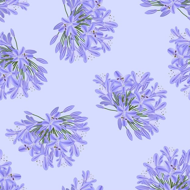 Agapanthus púrpura azul sobre fondo morado claro Vector Premium