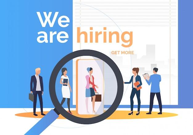 Agencia de empleo en busca de candidatos de trabajo vector gratuito