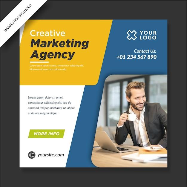 Agencia de marketing creativo instagram post banner diseño de redes sociales Vector Premium