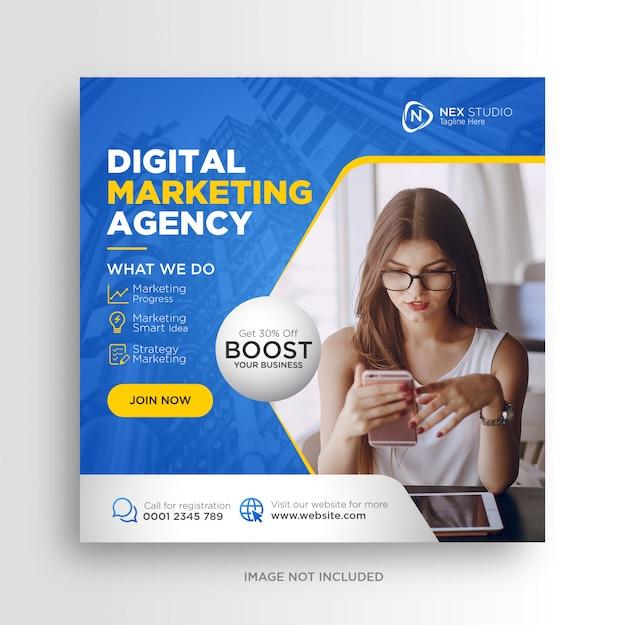 Agencia de marketing digital anuncios de banner de publicación de redes sociales Vector Premium