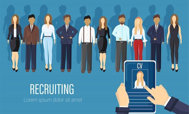 Agencia de reclutamiento de personas estilo plano Vector Premium