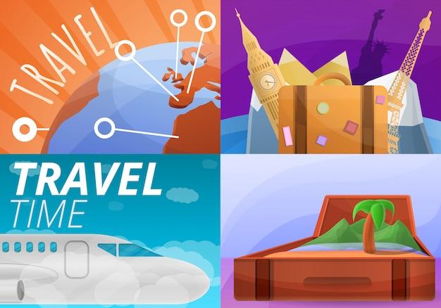 Agencia de viajes ilustración conjunto, estilo de dibujos animados Vector Premium