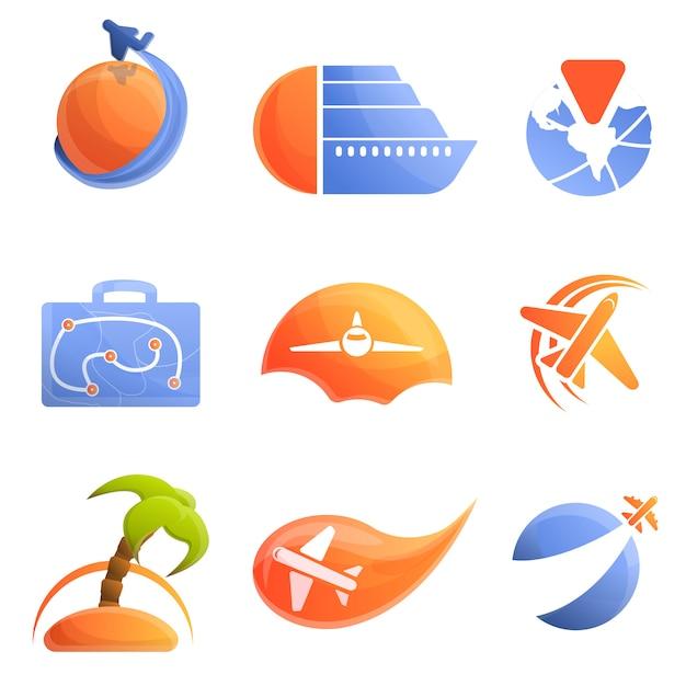 Agencia de viajes logo conjunto, estilo de dibujos animados Vector Premium