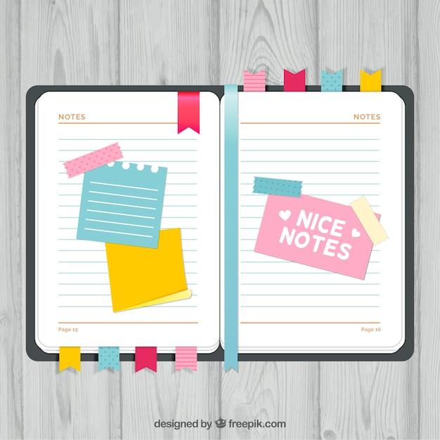 Agenda Con Agradables Notas Descargar Vectores Gratis