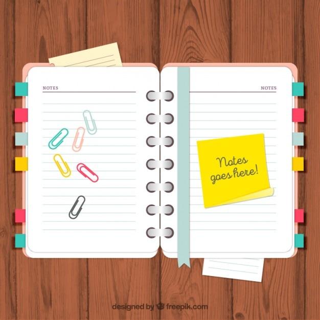 Agenda con notas y clips descargar vectores gratis for Agendas de oficina