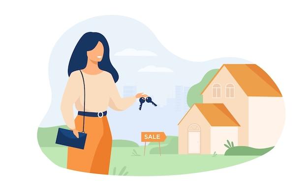 Agente de bienes raíces sosteniendo llaves y parado cerca del edificio aislado ilustración vectorial plana. mujer de dibujos animados y casa en venta. vector gratuito