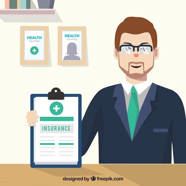 Agente de seguros en su oficina descargar vectores gratis for Oficinas de direct seguros