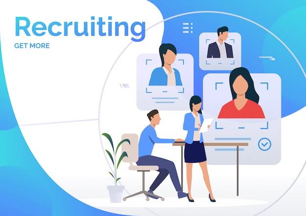 Agentes de reclutamiento que estudian los perfiles de candidatos vector gratuito