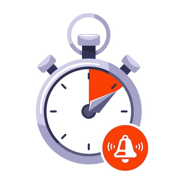Agotar el límite de tiempo del cronómetro. señal de parada en el reloj. ilustración plana aislada sobre fondo blanco. Vector Premium