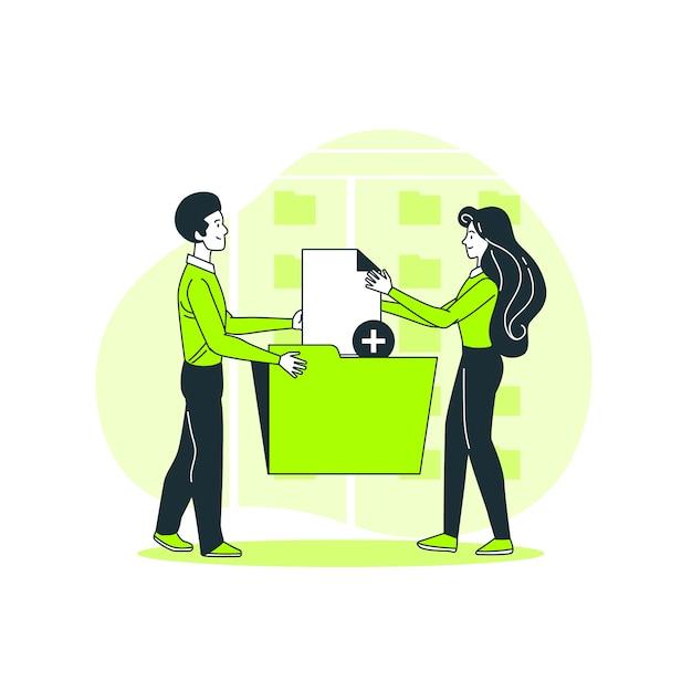 Agregar ilustración del concepto de archivos vector gratuito
