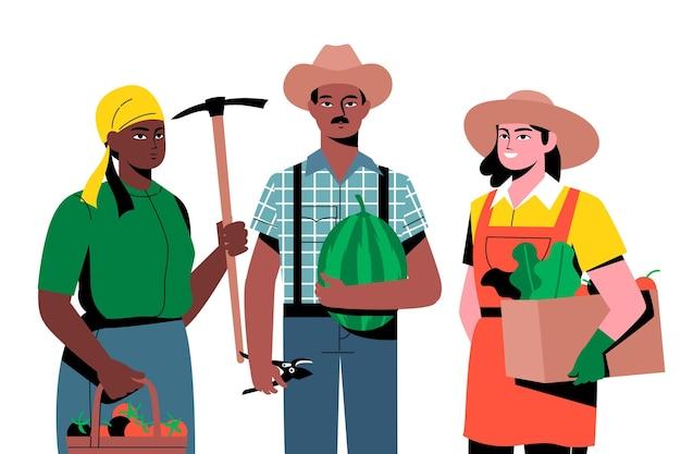 Agricultores con diferentes productos. vector gratuito