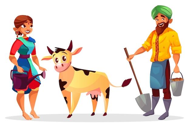 Agricultores niña y niño con vaca bebé vector gratuito