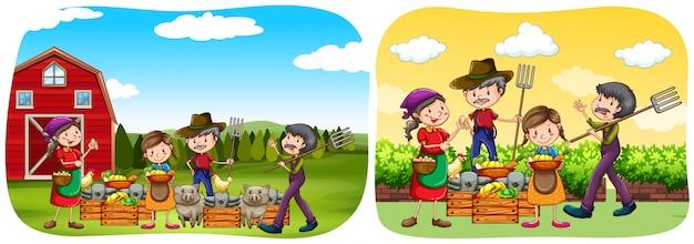 Agricultores y productos en la granja. vector gratuito