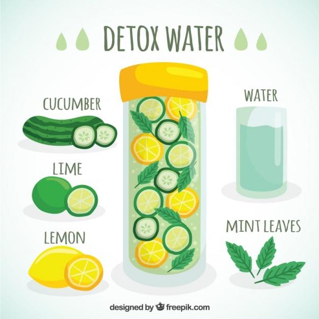 Agua para eliminar toxinas vector gratuito
