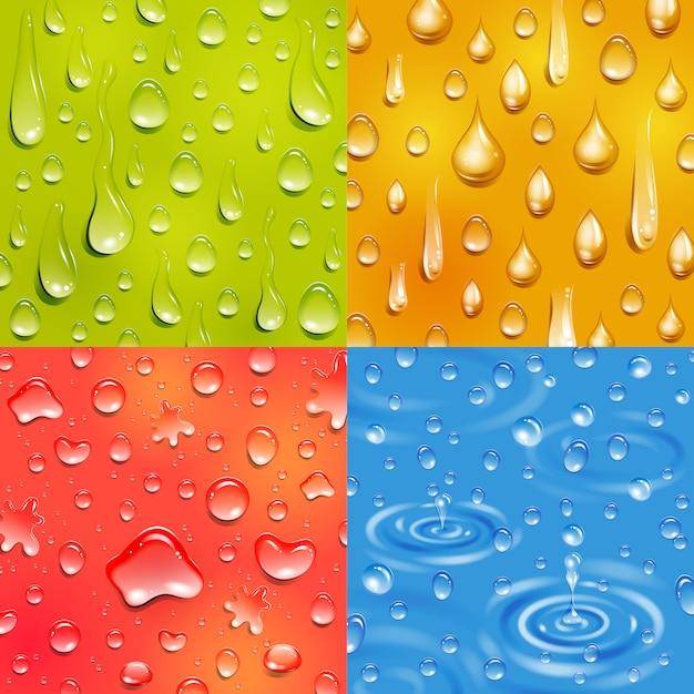 Agua siguiendo y cayendo gota ronda y forma alargada color banner cuadrado conjunto vector gratuito