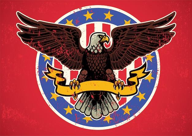 Águila americana desplegó alas con lazo y textura rústica. Vector Premium