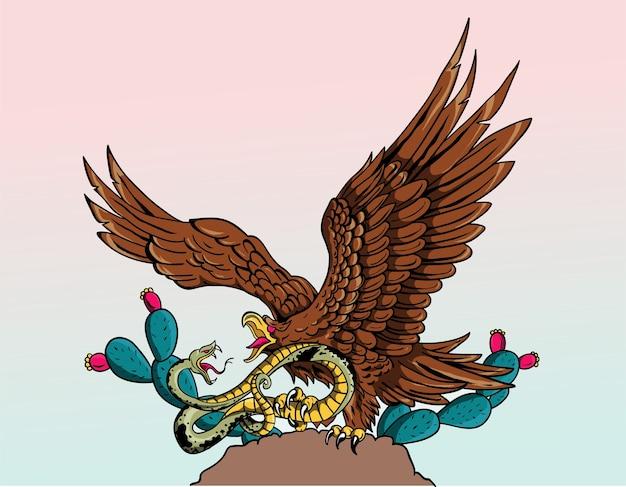 de que color es el aguila dela bandera de mexico
