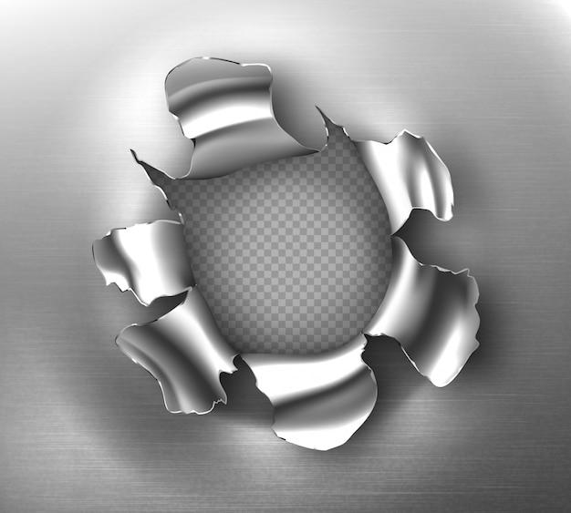 Agujero rasgado, irregular grieta redonda en chapa de acero. maqueta realista de bordes rasgados de rotura de metal, agujero de bala aislado sobre fondo transparente. página metálica dañada por disparo o explosión vector gratuito