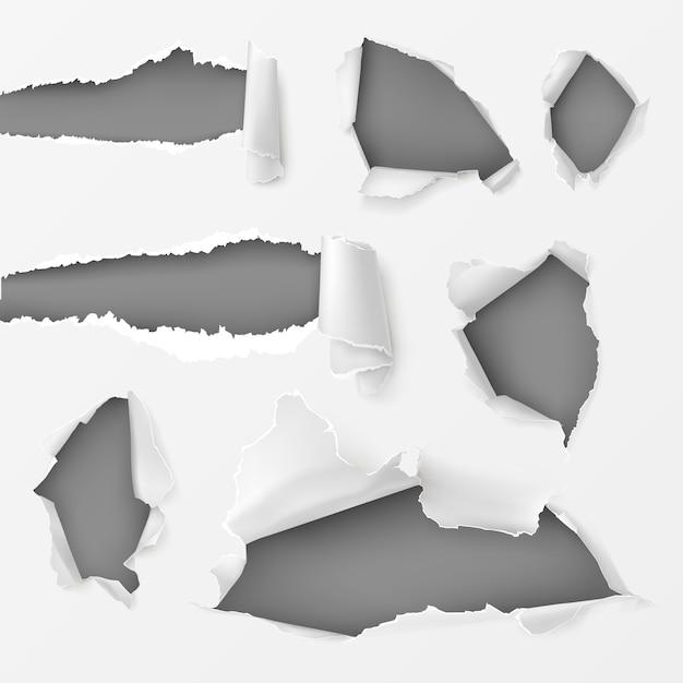 Agujeros y huecos en el conjunto de fondo blanco vector gratuito