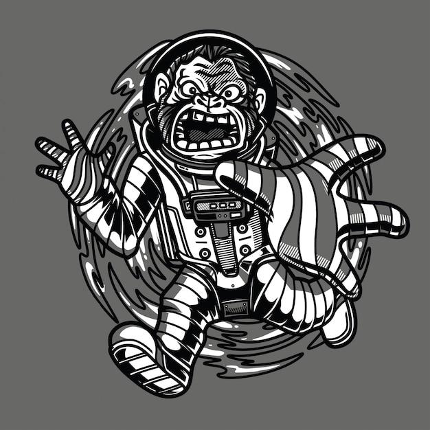 Agujeros negros chupados ilustración en blanco y negro Vector Premium