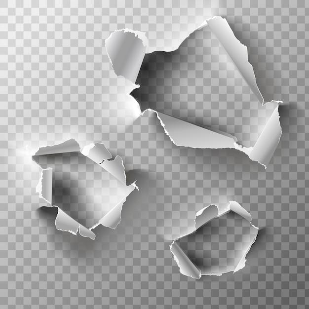 Agujeros realistas establecidos en papel. Vector Premium