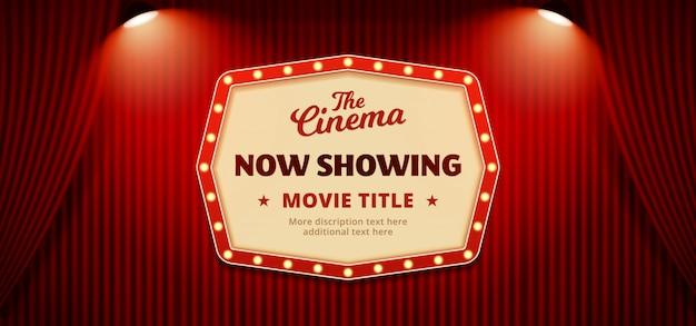Ahora muestra el fondo de la pancarta del póster de cine Vector Premium