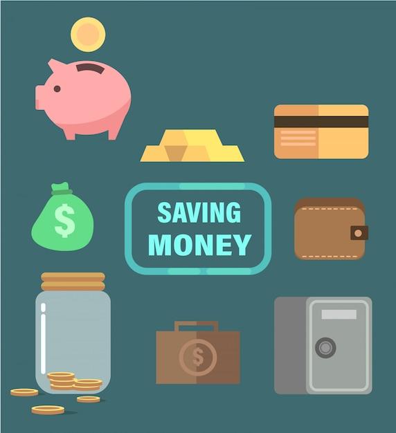 Ahorrando dinero con hucha, caja fuerte, oro y billetera. Vector Premium