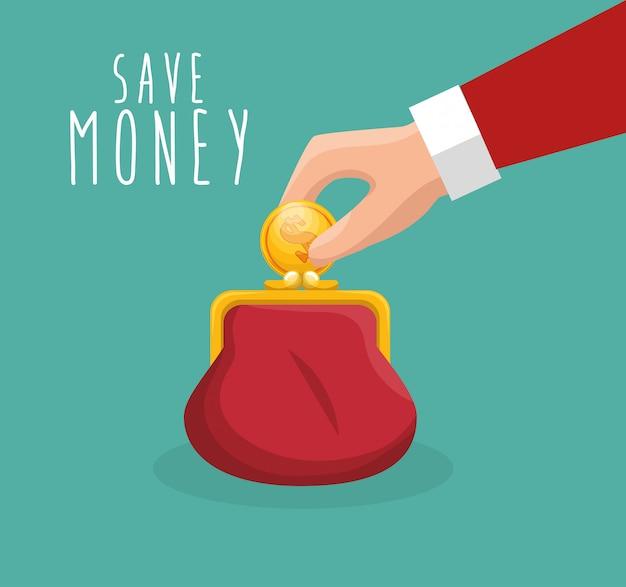 Ahorrar dinero mano poner monedero vector gratuito
