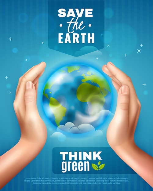 Ahorre el cartel de la ecología de la tierra vector gratuito